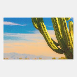 Adesivo Retangular Cacto do Saguaro do deserto no céu azul