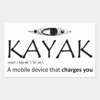 Adesivo Retangular Caiaque, um dispositivo móvel que o carregue