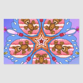 Adesivo Retangular Caleidoscópio dos ursos e das abelhas