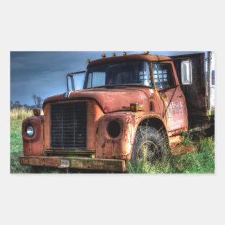 Adesivo Retangular Camionete internacional vermelho antigo