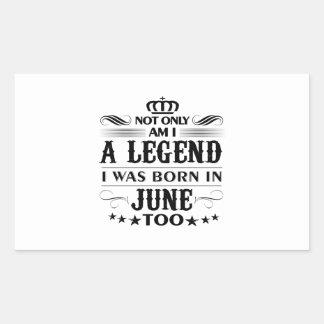 Adesivo Retangular Camiseta das legendas do mês de junho