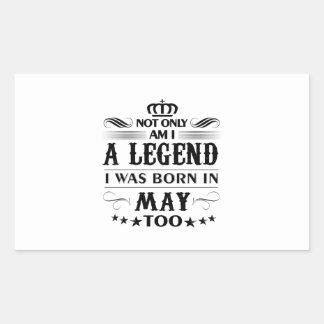 Adesivo Retangular Camiseta das legendas do mês de maio