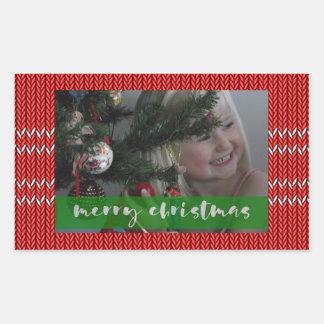 Adesivo Retangular Camisola do vermelho do Feliz Natal