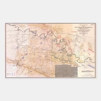 Adesivo Retangular Campo de batalha do mapa da guerra civil de