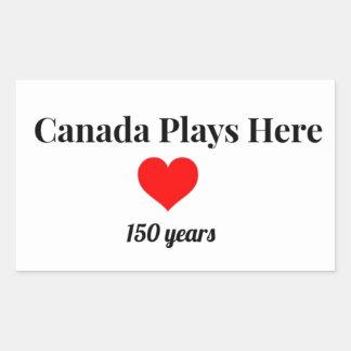 Adesivo Retangular Canadá 150 em 2017 Canadá joga aqui