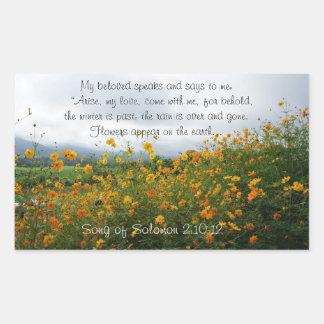 Adesivo Retangular Canção do 2:10 de Solomon - 12, verso da bíblia,