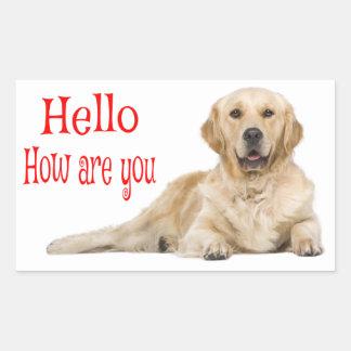 Adesivo Retangular Cão de filhote de cachorro do golden retriever -