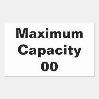 Adesivo Retangular Capacidade máxima