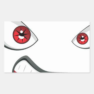Adesivo Retangular Cara má com olhos 2 do vermelho