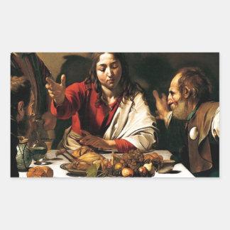 Adesivo Retangular Caravaggio - ceia em Emmaus - pintura clássica