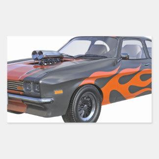 Adesivo Retangular carro do músculo dos anos 70 com chama alaranjada