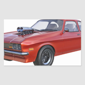 Adesivo Retangular carro vermelho do músculo dos anos 70