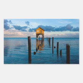 Adesivo Retangular Casa no oceano no Ambergris Caye Belize