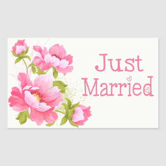 Adesivo Retangular Casamento floral da flor das peônias do rosa do