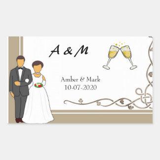 Adesivo Retangular Casamento simples e romântico