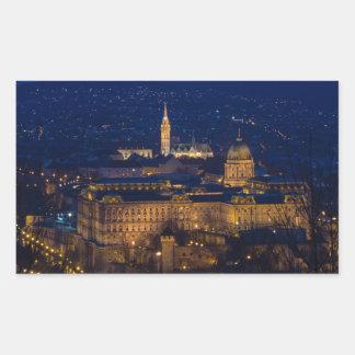 Adesivo Retangular Castelo Hungria Budapest de Buda na noite