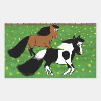 Adesivo Retangular Cavalos dos desenhos animados que funcionam no