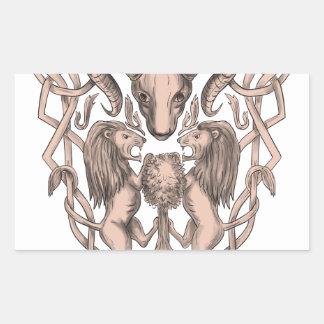 Adesivo Retangular Céltico Knotwo da brasão da árvore do leão dos