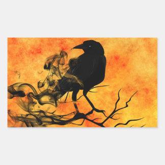Adesivo Retangular Cena assustador 11 do Dia das Bruxas o corvo