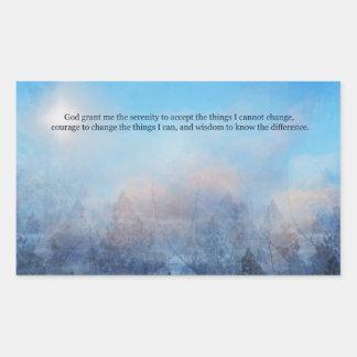 Adesivo Retangular Céu da oração da serenidade e abstrato das árvores