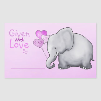 Adesivo Retangular Chá de fraldas do elefante cor-de-rosa dado com