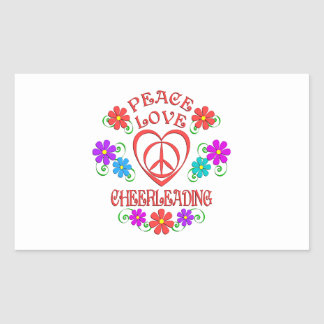 Adesivo Retangular Cheerleading do amor da paz