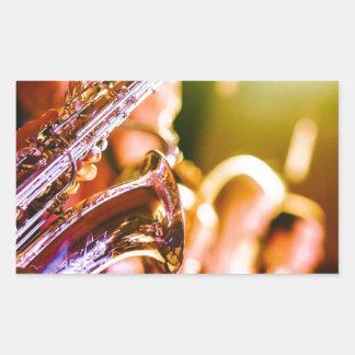 Adesivo Retangular Chifres dos saxofones dos instrumentos musicais da