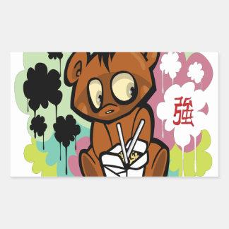 Adesivo Retangular Chinês bonito dos desenhos animados do bebê do
