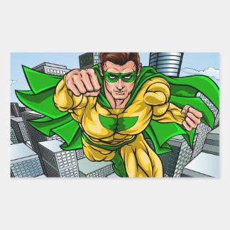 Adesivo Retangular Cidade do super-herói do vôo da banda desenhada