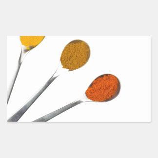 Adesivo Retangular Cinco especiarias de tempero em colheres do metal