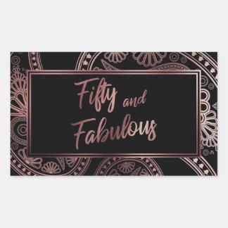 Adesivo Retangular Cinqüênta e ouro cor-de-rosa do falso fabuloso &