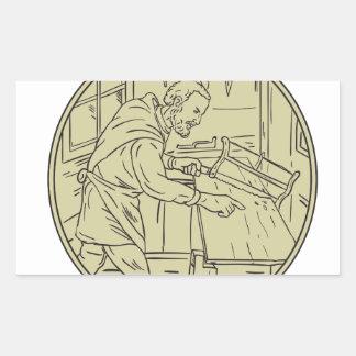 Adesivo Retangular Círculo de madeira do Sawing medieval do