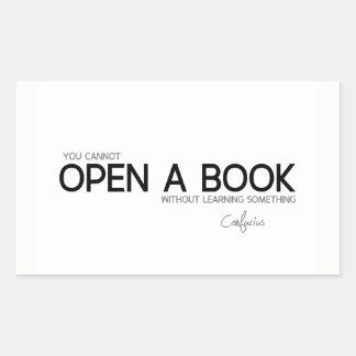 Adesivo Retangular CITAÇÕES: Confucius: Abra um livro