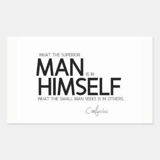 Adesivo Retangular CITAÇÕES: Confucius: Buscas superiores do homem