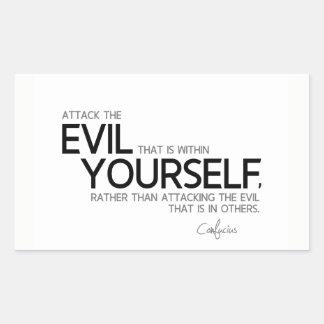 Adesivo Retangular CITAÇÕES: Confucius: Mau dentro do senhor mesmo