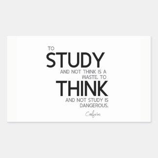 Adesivo Retangular CITAÇÕES: Confucius: Para estudar, para pensar
