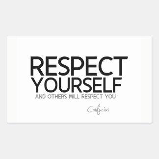 Adesivo Retangular CITAÇÕES: Confucius: Respeito você mesmo