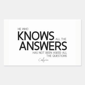Adesivo Retangular CITAÇÕES: Confucius: Sabe todas as respostas