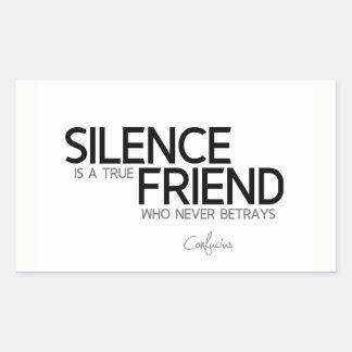Adesivo Retangular CITAÇÕES: Confucius: Silêncio, amigo verdadeiro