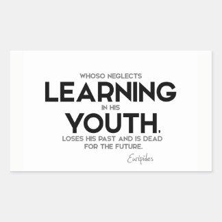 Adesivo Retangular CITAÇÕES: Euripides: Aprendizagem na juventude