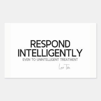 Adesivo Retangular CITAÇÕES: Lao Tzu: Responde a inteligência