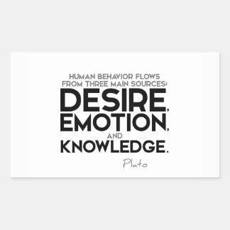 Adesivo Retangular CITAÇÕES: Plato: Desejo, emoção, e conhecimento