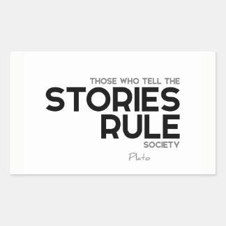 Adesivo Retangular CITAÇÕES: Plato: Sociedade da regra das histórias