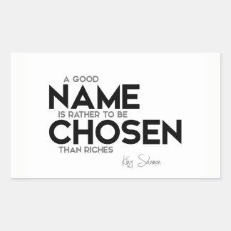 Adesivo Retangular CITAÇÕES: Rei Solomon: Bom nome escolhido