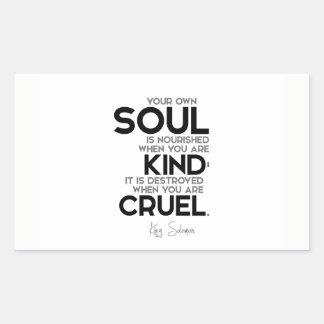 Adesivo Retangular CITAÇÕES: Rei Solomon: Sua própria alma é nutrida