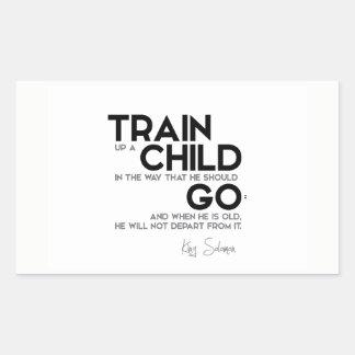 Adesivo Retangular CITAÇÕES: Rei Solomon: Trem acima de uma criança
