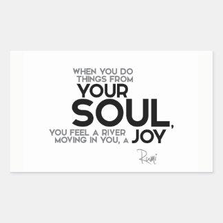 Adesivo Retangular CITAÇÕES: Rumi: Sua alma, alegria