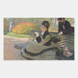Adesivo Retangular Claude Monet - Camilo Monet em um banco