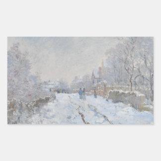 Adesivo Retangular Claude Monet - cena da neve em Argenteuil