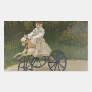 Adesivo Retangular Claude Monet - Jean Monet em seu cavalo do
